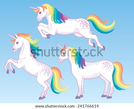 A set of three cartoon unicorns with rainbow manes and tails. - stock vector