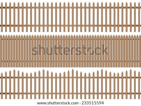 a set of three different wooden picket fence on white background - stock vector