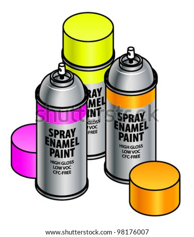 A set of three electric bright florescent spray enamel paint canisters.