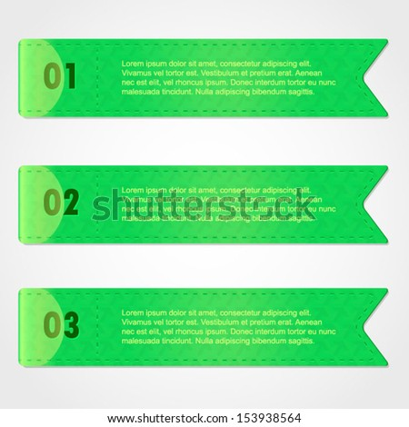 A set of three green modern vector banners in the form of ribbons with stitches. Banners for business modern design, eps10 vector illustration.