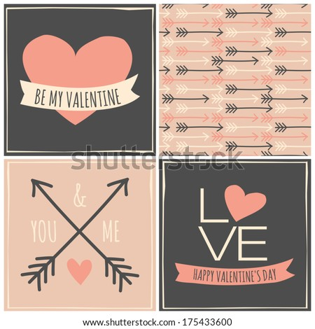 A set of three greeting cards for Valentine's Day and a seamless pattern in pastel colors. - stock vector
