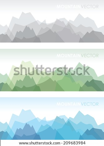 a set of three overlapping coloured mountain backgrounds - stock vector