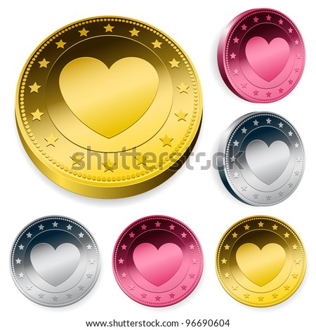 A set of three round love coins or tokens with a central heart in gold, silver and bronze in two orientations - stock vector