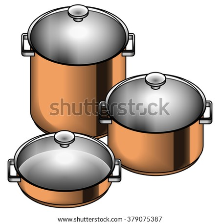 A set of three shiny copper cooking pots - stock, soup, paella and risotto pots.