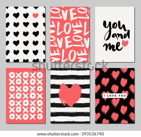 A set of three Valentine's Day designs in black, cream and coral red. Romantic greeting card, invitation, poster design templates. - stock vector