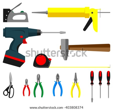 A set of tools in a flat style