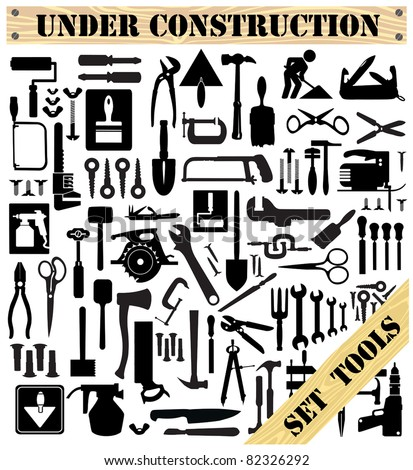 A set of tools silhouettes in black on a white background
