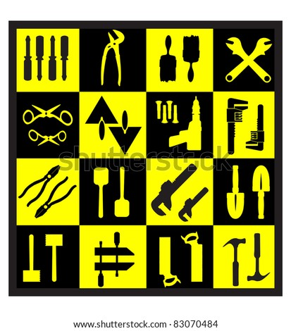 A set of tools silhouettes in black on a yellow background