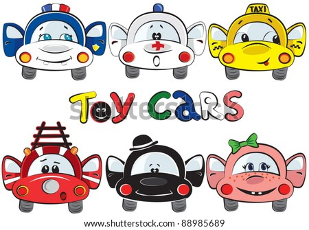 A set of 6 toy cars - stock vector