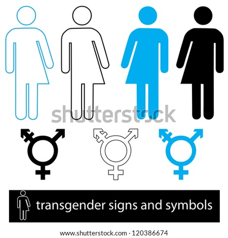a set of transgender  icons and symbols for signage and web use. - stock vector