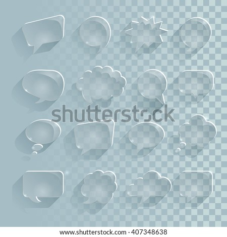A set of translucent speech bubbles, ice with long shadow. Glass effect vector file. EPS 10. - stock vector