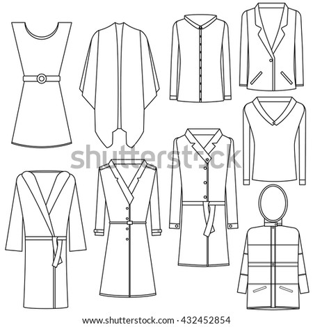 A set of transparent icons of women's clothing on a white background. Vector outlined icons of women's clothing. The contour of women's clothing. Women's clothing linear icons. Jacket, coat, bathrobe. - stock vector