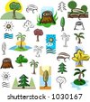 A set of tree and nature scene vector icons in color, and black and white renderings. - stock photo