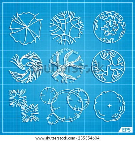 A set of treetop symbols, for architectural or landscape design - stock vector