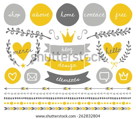 A set of trendy blog design elements in gold yellow, light gray and dark gray. Round buttons, laurel wreaths, cute icons, arrows, frames, decorative borders and text dividers. - stock vector