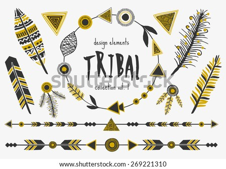 A set of tribal design elements in black and golden. Arrows, decorative borders, text dividers, feathers and frames.  - stock vector