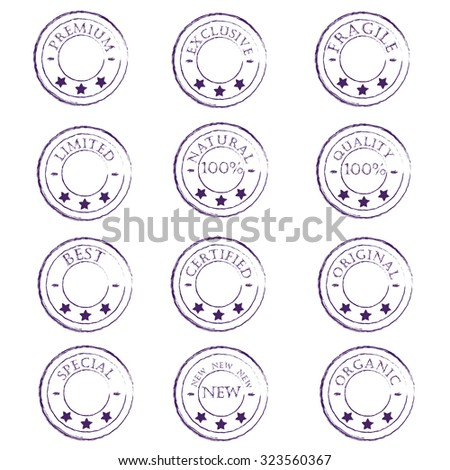 a set of twelve vintage purple stamps characterize the product on a white background