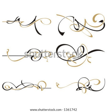 A set of 6 two color design elements. - stock vector