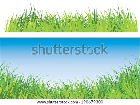 a set of two illustration of green grass one with blue sky - stock vector