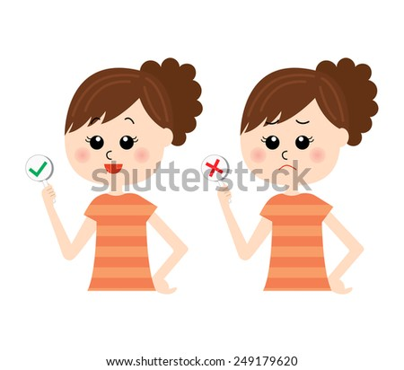 A set of two pose variations of young woman with yes and no signs, vector illustration - stock vector