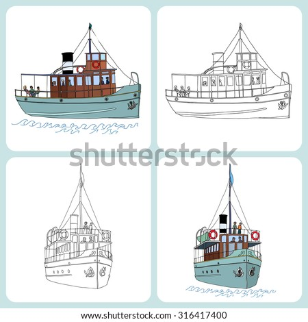 A set of two small passenger ships (steamers). Black lines and color  versions. Vector illustration for coloring pages or other. - stock vector