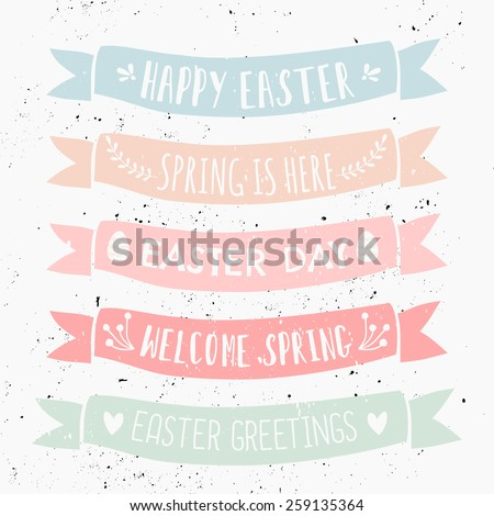 A set of typographic designs on pastel colored banners for Easter Day. - stock vector