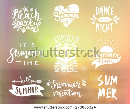 A set of typographic summer designs. Vintage filter blurred ocean background. Summer season logos, posters, t-shirt, flyer, apparel designs. - stock vector