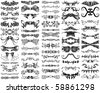 A set of 65 unique, decorative, ornamental design elements, borders, flourishes, horizontal rules, and dividers. - stock vector