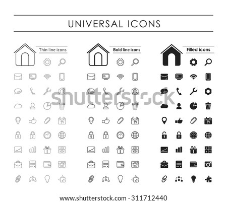A set of 35 universal icons. Variants - a thin line, bold line, fill