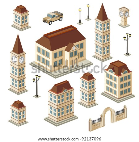 A set of urban and antique buildings in the isometric - stock vector