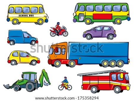 A set of various colorful cartoon vehicles: Bus, bike, cars, van, digger, motorbike, lorry, fire engine and a school bus on a white background.