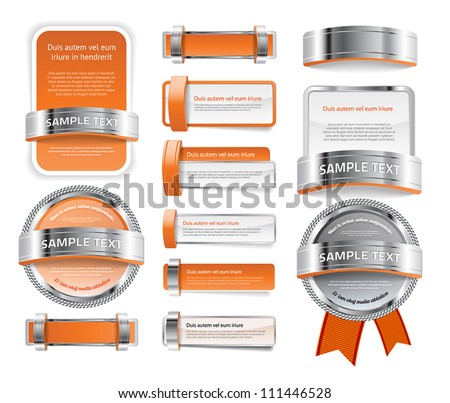 A set of various vector badges banners and buttons, of glass metal and plastic, in orange tones - stock vector
