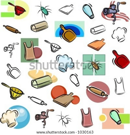 A set of variuos kitchen vector icons in color, and black and white renderings. - stock vector