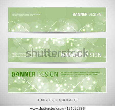 A set of vector abstract banners with green sparkling light background - stock vector