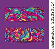 A set of  vector banners with colorful  background.Abstract vector ethnic pattern cards. - stock