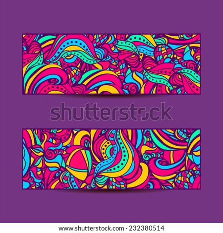 A set of  vector banners with colorful  background.Abstract vector ethnic pattern cards. - stock vector