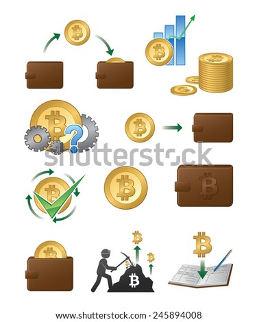 A set of vector bitcoin related icon illustrations. - stock vector
