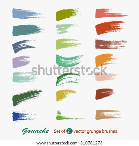 A set of vector brush strokes of different sizes. Chalk and charcoal. A high resolution. Brushes are stored in the palette.