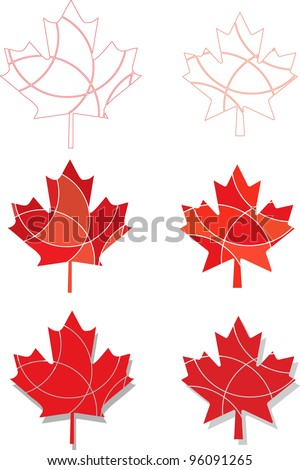A set of vector Canadian Maple leaf icons in different shades of red