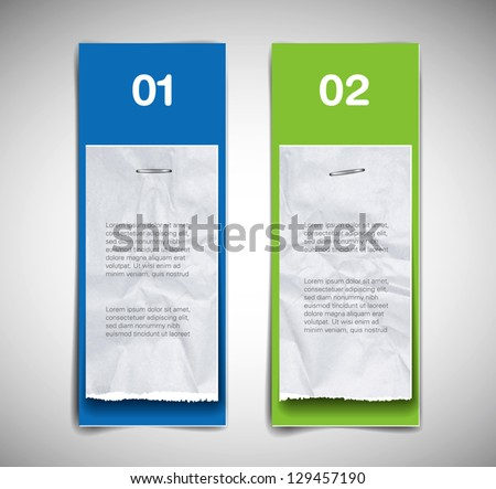 A set of vector cardboard banners (blue and green) with torn paper pieces attached - stock vector
