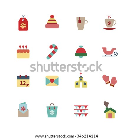 A set of vector graphic for christmas, winter vacation, holiday, gift, sports. calendar, card, church, glove, bag, flag, house, tag, hat, cup, tea, coffee, cake, stick, bell, sleigh.
