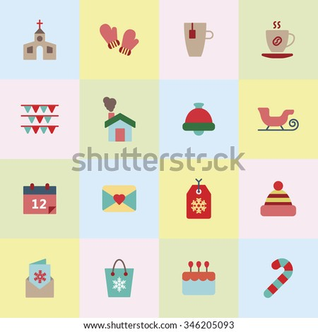 A set of vector graphic for christmas, winter vacation, holiday, gift, sports. goggles, ski, skate, shoe, earmuffs, scarf, boots, sweater, woolen hat, sleigh, church, calendar, letter, envelope,