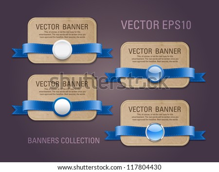 A set of vector horizontal cardboard paper promo banners decorated with blue ribbons and various buttons / seals - stock vector