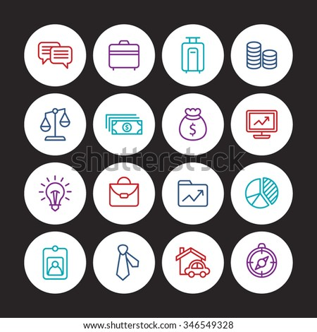 A set of vector icon graphic for business, finance, office, company, employee card, money, dollar, compass, chat, talk, messenger, bag, folder, scale, balances, necktie, real estate, monitor, graph,
