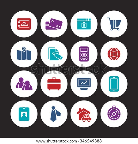 A set of vector icon graphic for business, finance, office, company, stock, global, network, money, safe, security, mobile, phone, people, tour, compass, house, card, computer, graph, map,