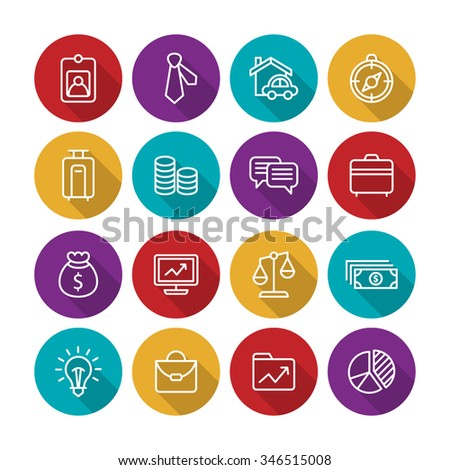 A set of vector icon graphic for business, finance, office, company, stock, graph, document, paper, money, real, estate, employee card, bank, diagram, credit, lock, cloud, cart, wallet, pig,