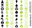 A set of Vector icons : Energy and Environmental Conservation (silhouette/line) - stock vector