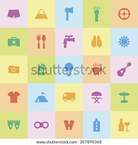 A set of vector icons for summer vacation, outdoor. tent, bus, umbrella, camera, boat, binocular, oil, cloth, , compass, balloon, fins, emergency, medicine, wine, sun, mountain, ax, light, life vest.