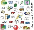 A set of vector icons of books and reading devices in color, and black and white renderings. - stock photo