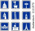 A set of 9 vector icons of buildings. - stock vector
